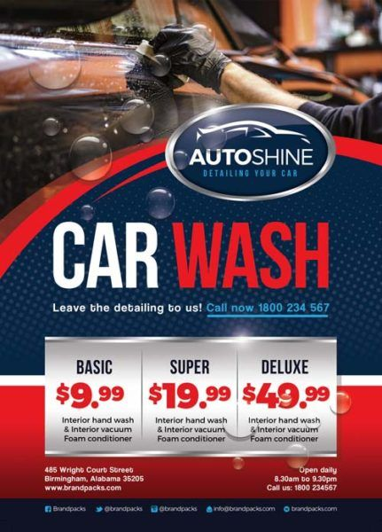 Free Car Wash Business Flyer Template Detailing flyers Car