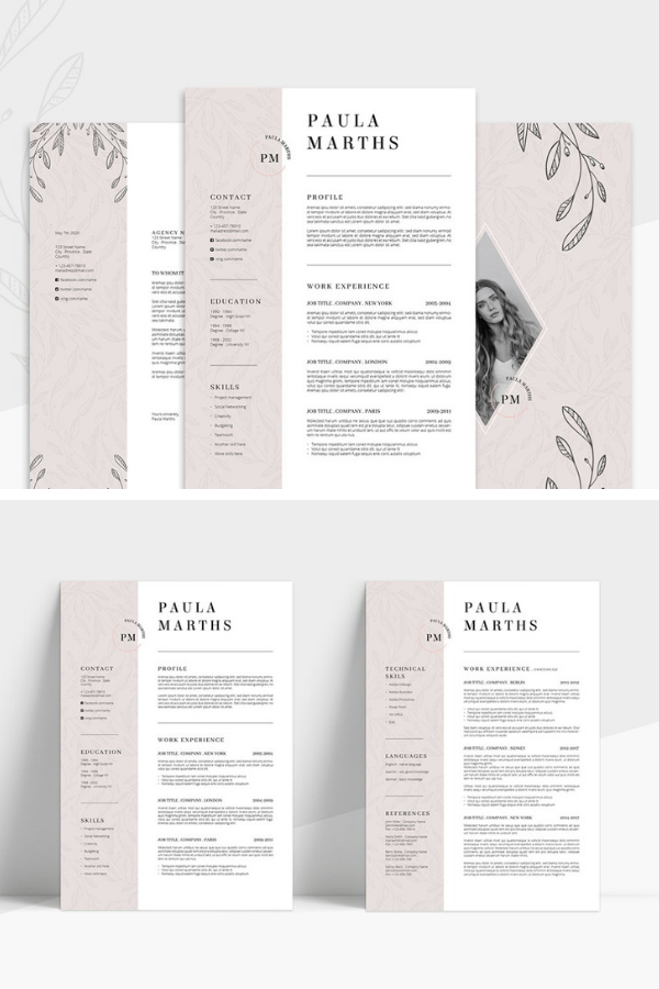 Floral Resume Cv Cover Letter Resume Design Creative Resume Design Template Cv Cover Letter