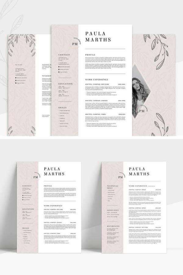 Floral Resume Cv Cover Letter Resume Design Creative Resume Design Template Cv Cover Letter