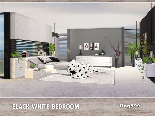 Sims 4 CC\'s - The Best: Black White Bedroom by ung999 ...