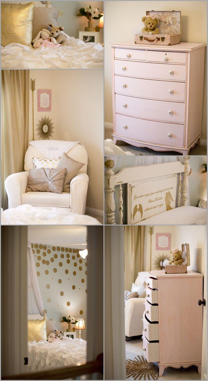 Best Little Girl Room Makeover Shabby Chic Gold Polka Dots 400 x 300