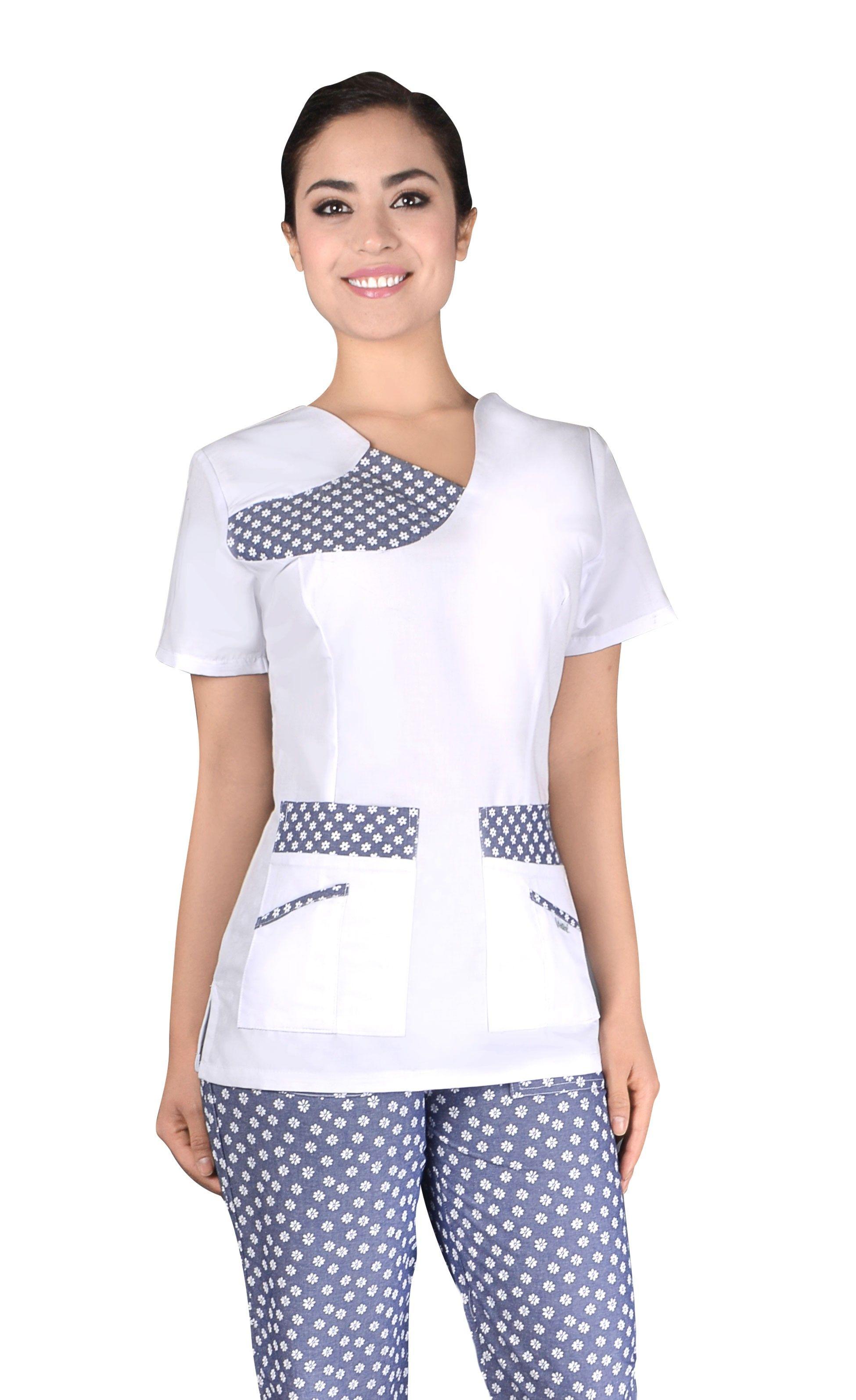 Qx 52 blanco fantasia mezclilla uniformes para - Uniformes sanitarios modernos ...