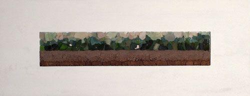 Horizon 35 x 90 cm  klei, zand en glas op paneel.