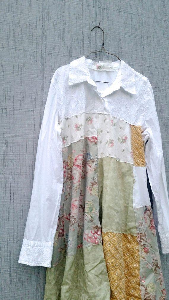 flippiges kleines romantisches Patchworkkleid weiß floral von CreoleSha #allwhiteclothes