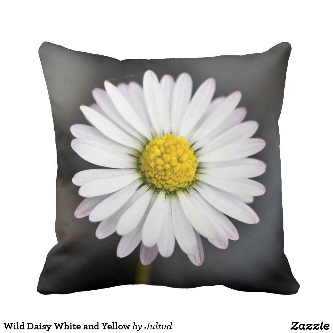 Wild Daisy White And Yellow Throw Pillow Yellow Throw Pillows