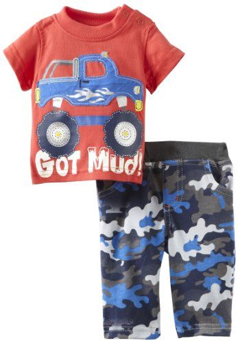 Mini Bean Baby-Boys Newborn Truck Knit Top And Pant Set, Red, 3-6 Months - Red shirt with truck, camoflauge cotton pant - Pant Sets - Apparel - $18.70