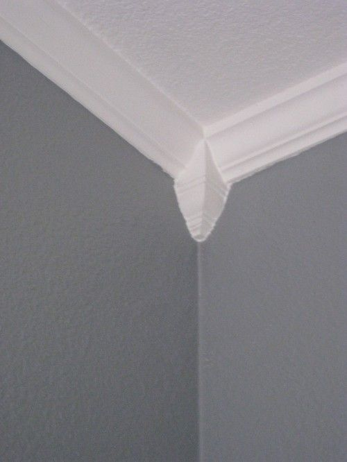 Laundry room make over mitered corners moldings and for Miterless crown moulding
