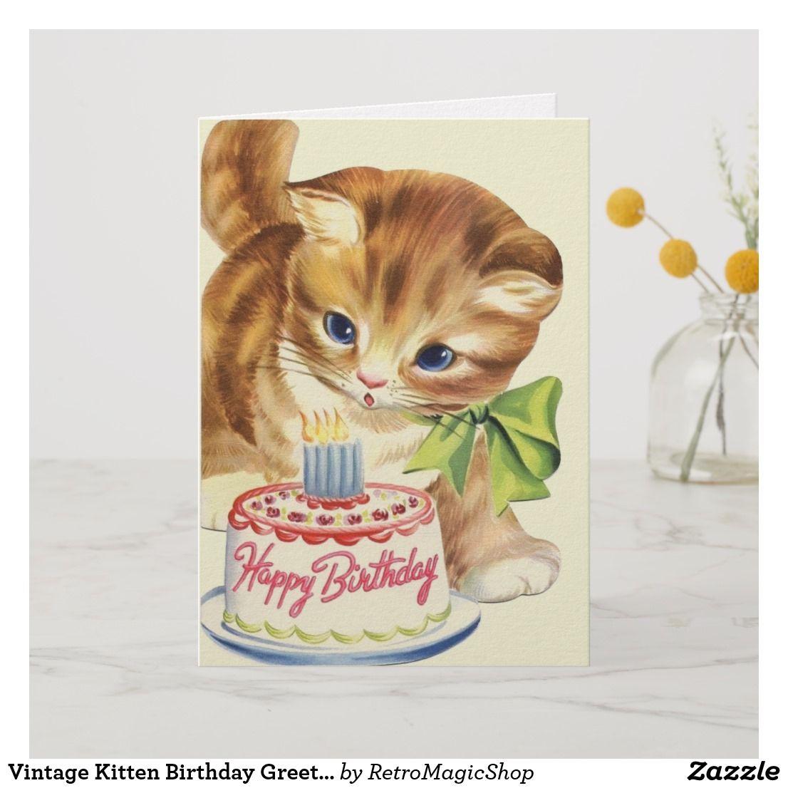 Vintage Kitten Birthday Greeting Card Zazzle Com