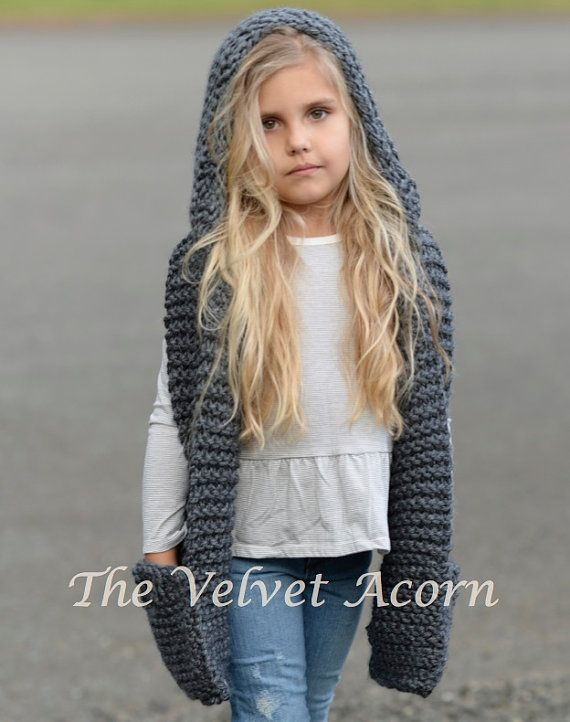 bbe39dc7256d Knitting PATTERN-The Tuft Hooded Scarf (12 18 months