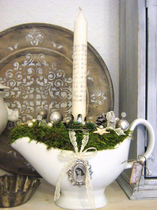 sauciere gesteck vintageshabby weihnachtsdeko pinterest gestecke weihnachten und. Black Bedroom Furniture Sets. Home Design Ideas