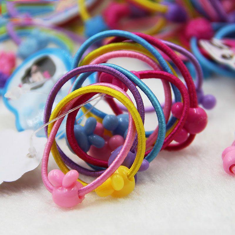 40 Pcs Haute Qualité Carton Ballon Rond Enfants Élastique Bandes de Cheveux Élastique de Cheveux Cravate Enfants En Caoutchouc Bande De Cheveux