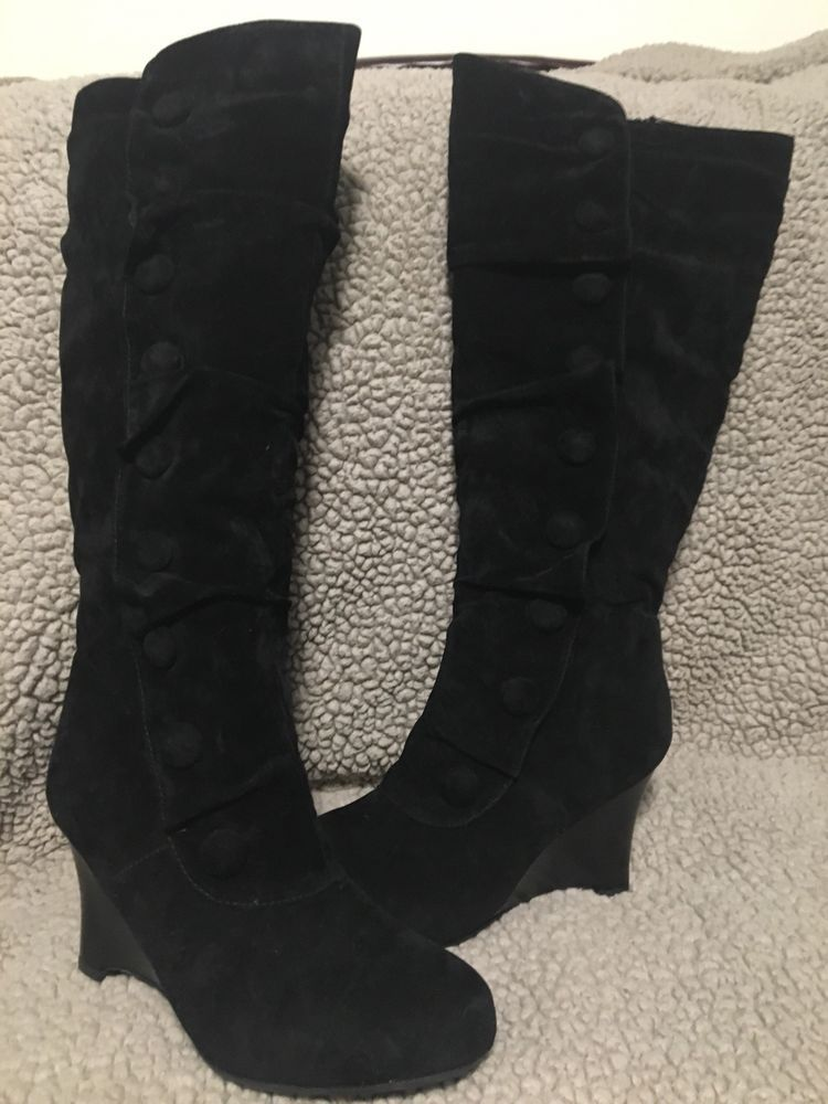 b560f67716b1 Pierre Dumas Black Velvet Knee High Boots Wedge Heels Size 9 Womens  fashion   clothing