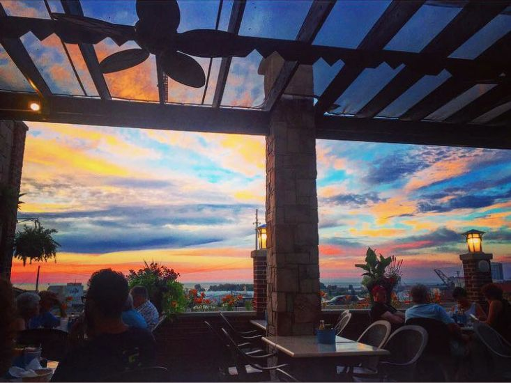 Sunset Over Lake Erie The Harp Cleveland Ohio Waterfront Restaurant Wood Molding