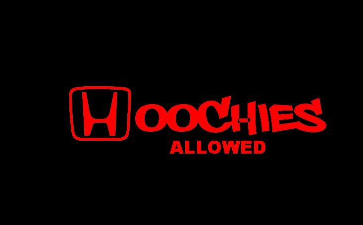 Hoochies Red Decal Sticker Honda Logo Civic Accord Sol Hatchback
