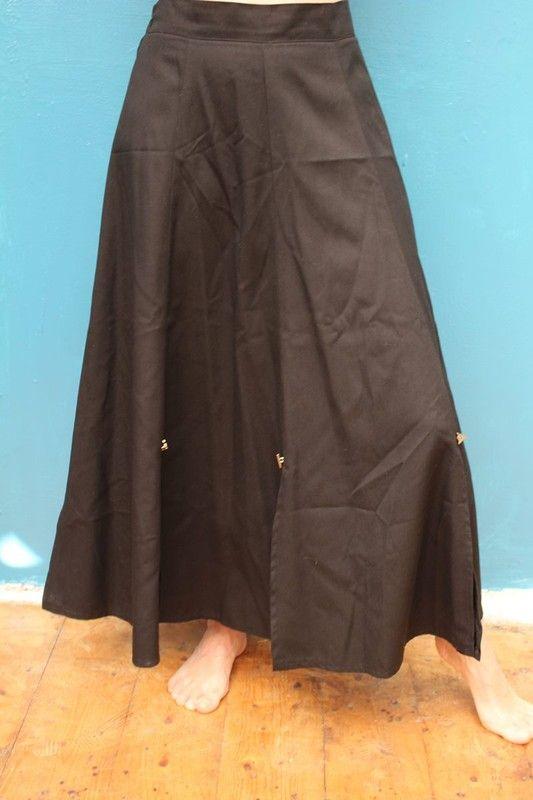 jupe longue fendu triangle noir T36 38 soirée chic vintage