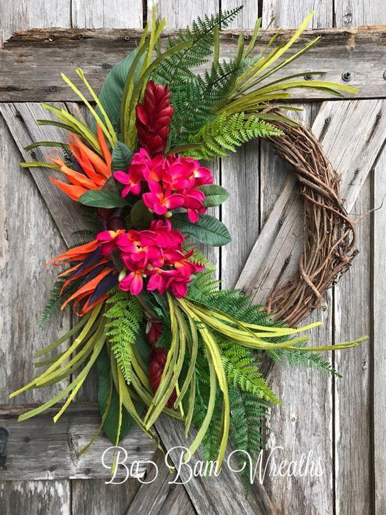 Merveilleux Tropical Flower Wreath: Hot Glue Gun, Grapevine Garland, Birds Of Paradise  Artificial Flowers, Pink Hibiscus Silk Flowers Artificial Ferns Greenery.