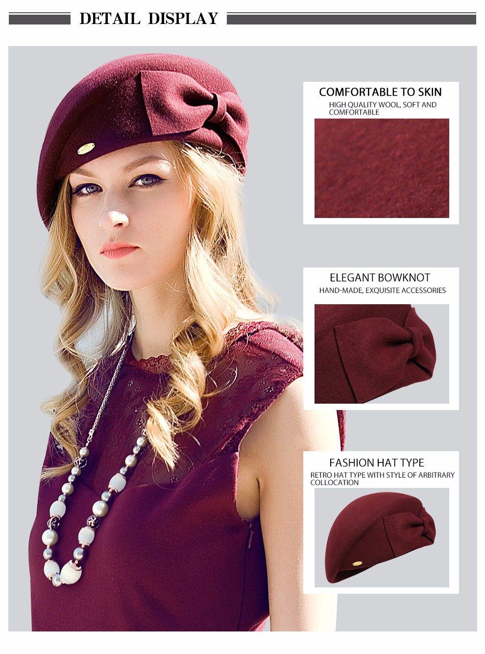 4bfe4770d47c8 Female Cute England British Australian Wool Felt Beret Hat Women Lady  French Artist Red Black Khaki Flat Cap Bow Boina Feminino – hatstores.net