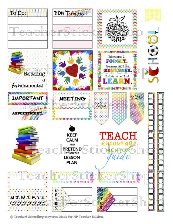 Teacher Planner Stickers PRINTABLE with Cut File - Rainbow