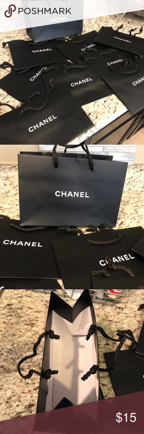 """Set of 9 CHANEL gift bags Brand new authentic black CHANEL gift bags. 6.5""""x9.5"""". I have 9 left. CHANEL Other"""