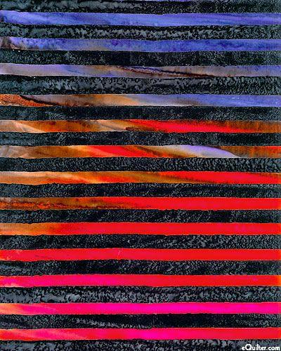 Elementals - Marbled Stripes Batik - Midnight Blue/Pumpkin - elementals collection - Lunn Studios for R Kaufman - indigo, black, persimmon, mango, violet, grape, iris blue, pumpkin, midnight blue