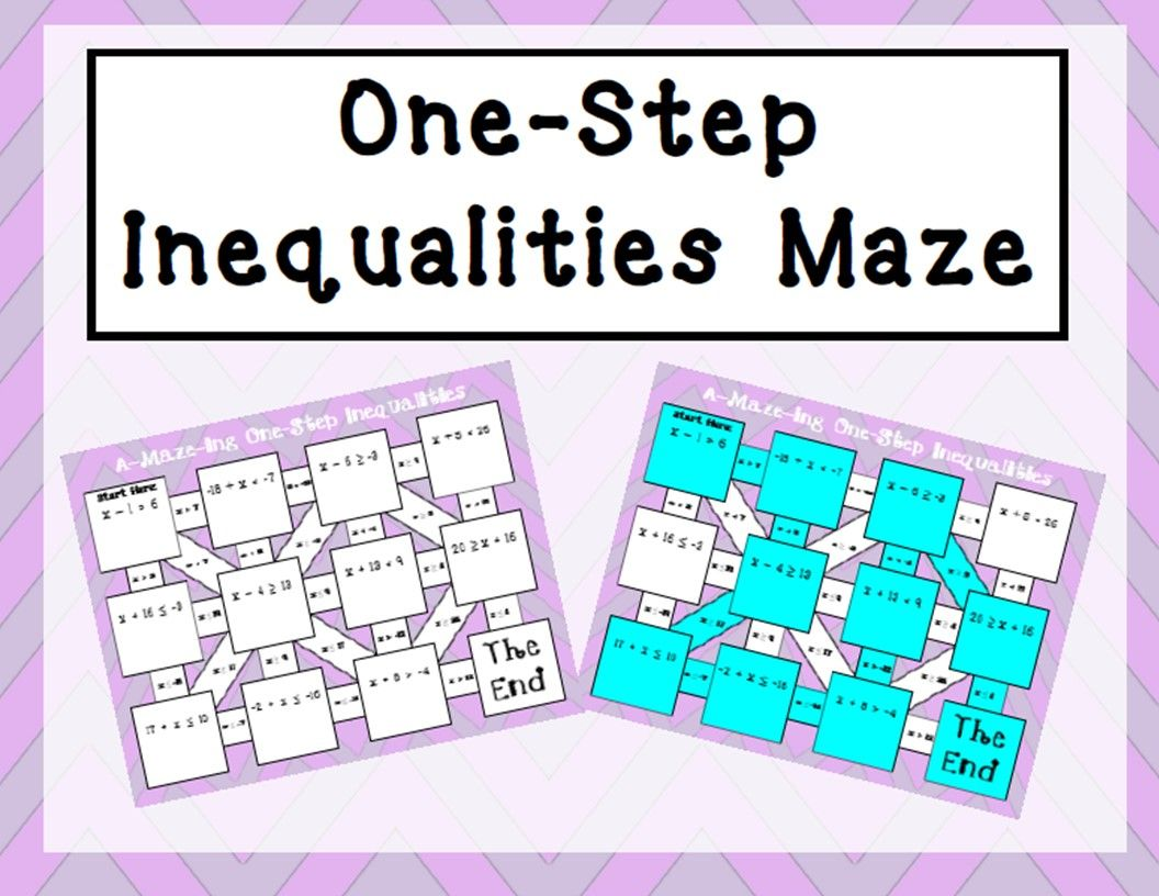 One Step Inequalities Maze Addition And Subtraction