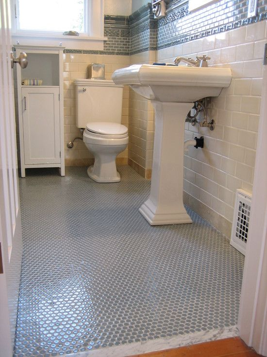 Example Of Penny Tile For Guest Bath Floor Penny Tiles Bathroom