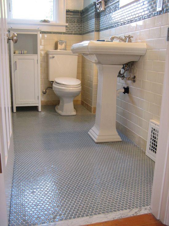 Gray penny tile white grout tiles in 2019 penny tile - Penny tile bathroom floor ...