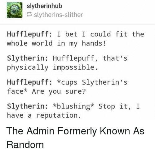 Hufflepuff X Slytherin Slytherin Slytherin And Hufflepuff Harry Potter Puns