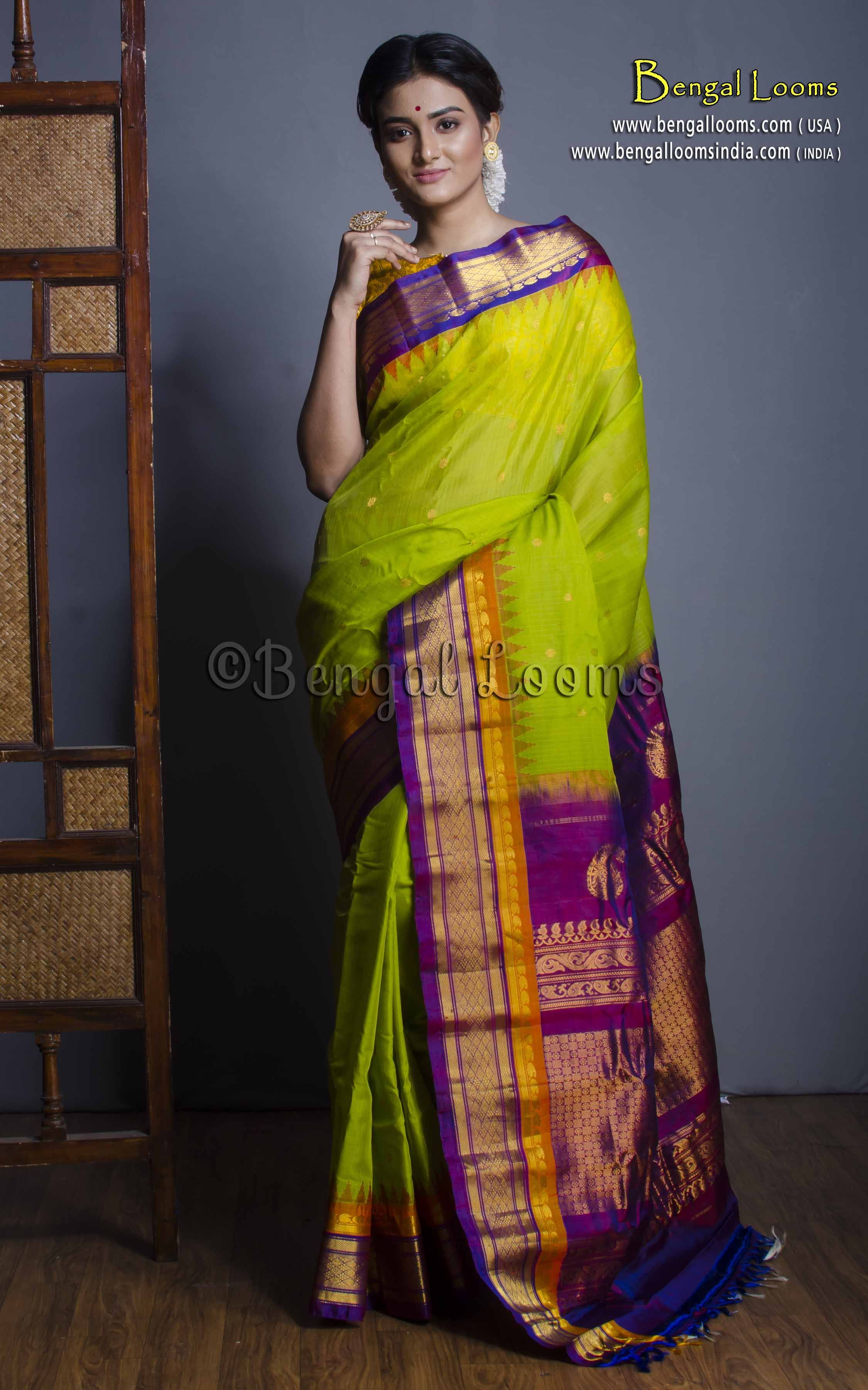 42fd779c6d Premium Quality Silk Cotton Gadwal Saree in Parrot Green and Purple ...