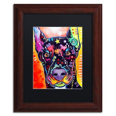 "Trademark Art 'Doberman' Framed Graphic Art Print Mat Color: Black, Size: 14"" H x 11"" W x 0.5"" D"