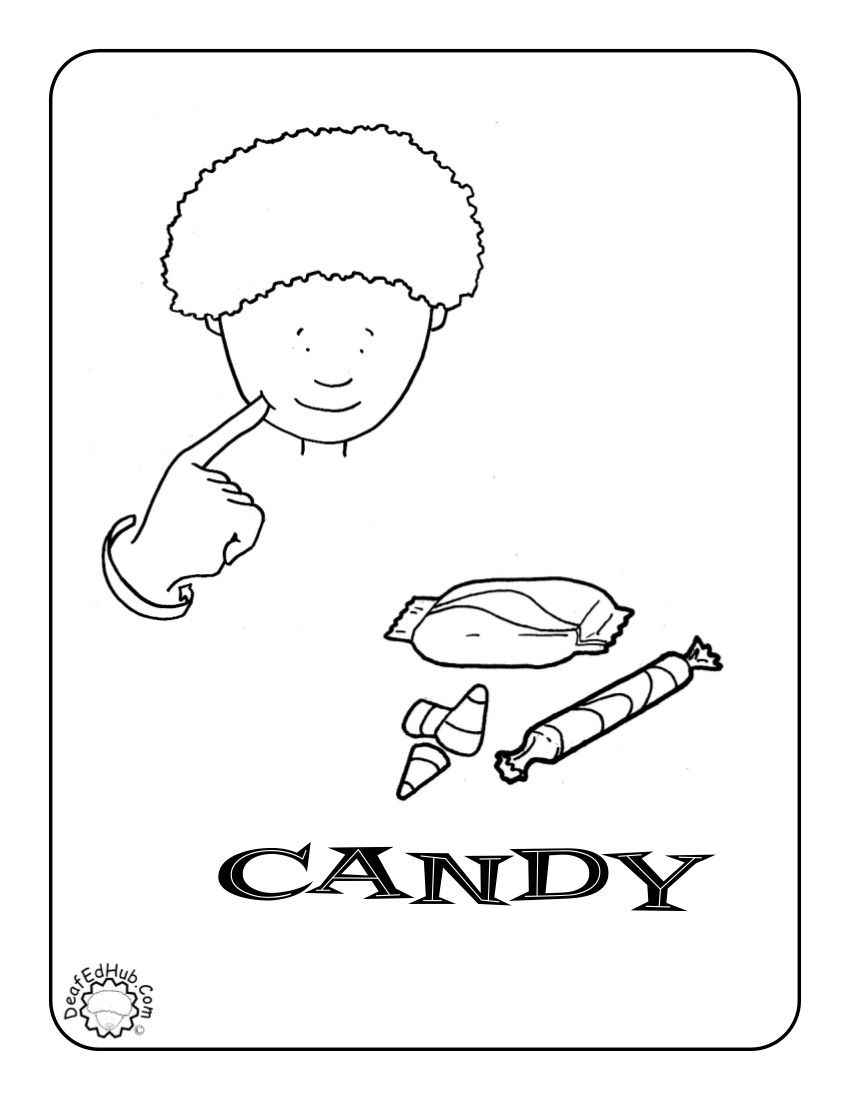 Candy Coloring Page Baby Sign Language Halloween Vocabulary Candy Coloring Pages Kindergartenworksheets asl coloring pages p