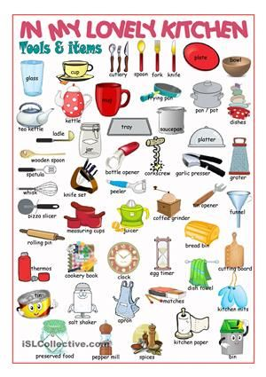 A Pictionary On Kitchen Items And Tools Esl Worksheets
