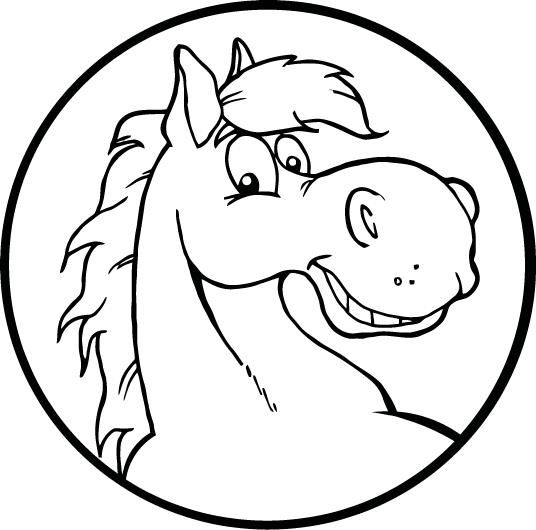 Coloring Page Of A Smiley Horse Face For Kids With Images