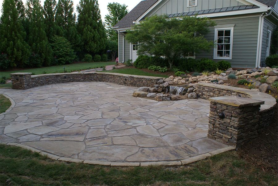 Project Gallery Patio Makeover Stamped Concrete Patio Stacked Stone Walls