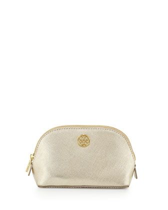 Robinson Saffiano Makeup Bag, Gold by Tory Burch at Neiman Marcus.
