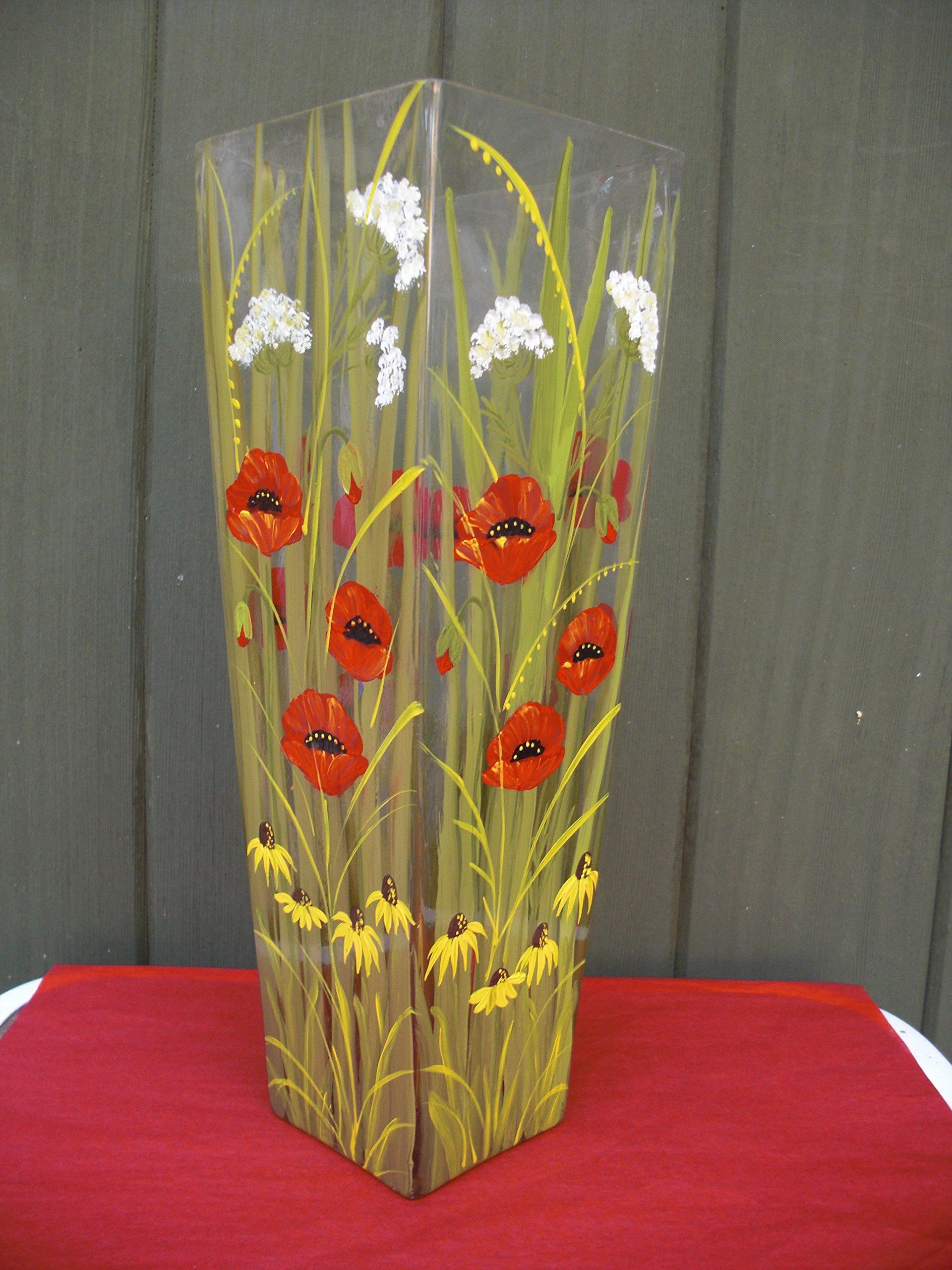 Hand Painted Crystal Vase With Poppies,Daisies And Queen Annes Lace