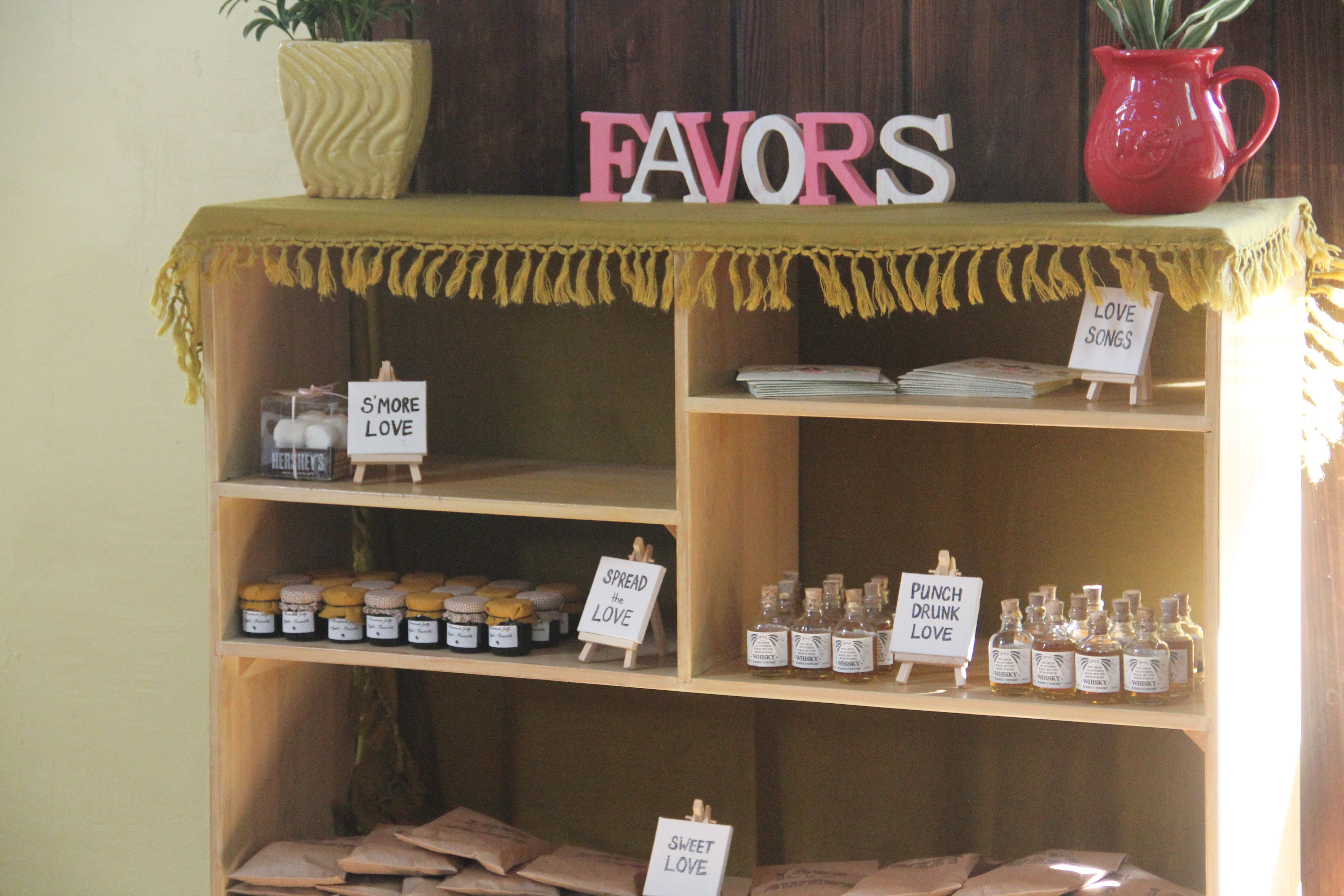 Shelving Where The Favors Were Showcased Diy Wedding Projects Wedding Coordinator Love Is Sweet