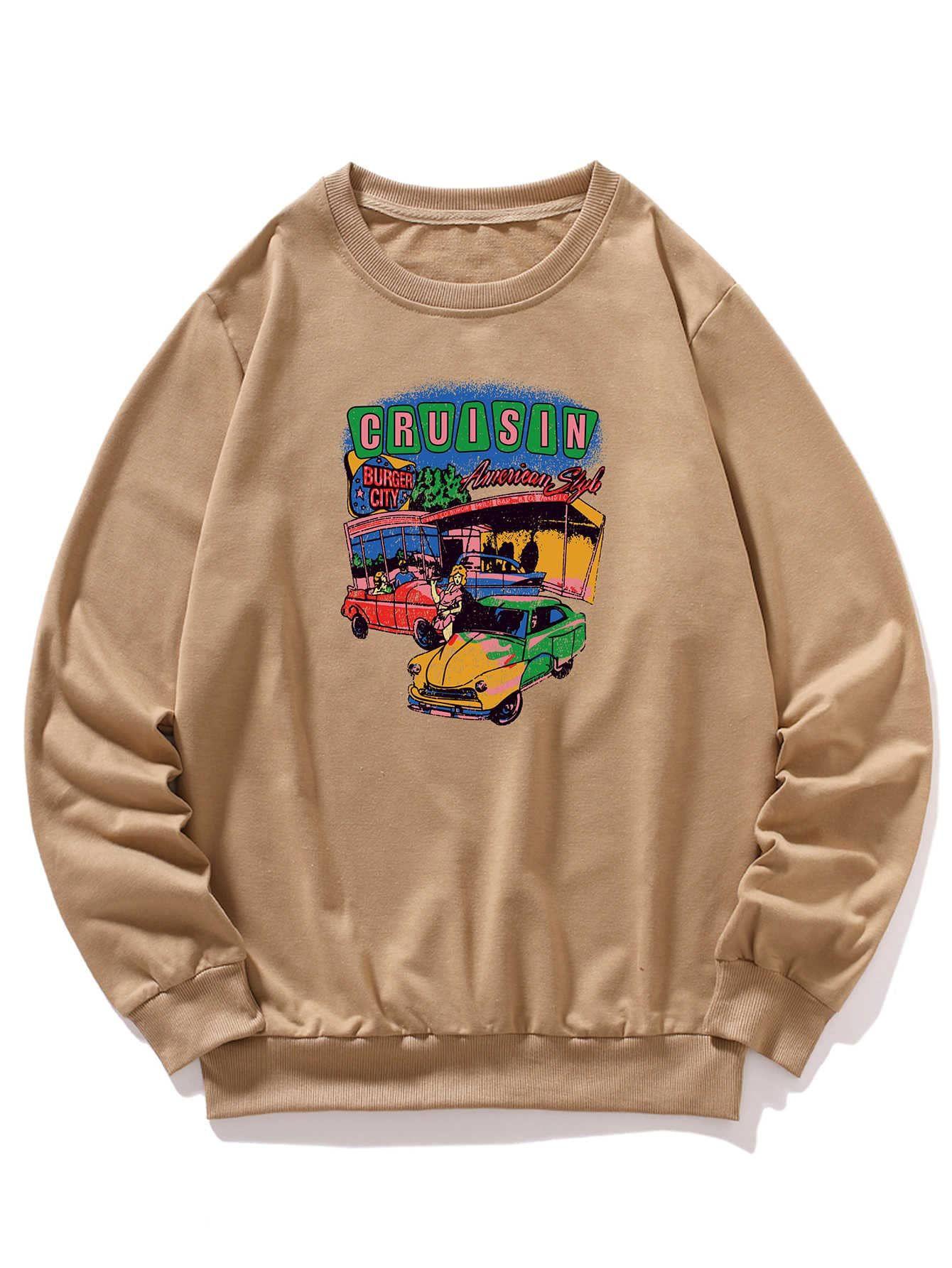 Men Car And Letter Graphic Sweatshirt Shein Usa Sweatshirts Graphic Sweatshirt Streetwear Men Outfits [ 1785 x 1340 Pixel ]