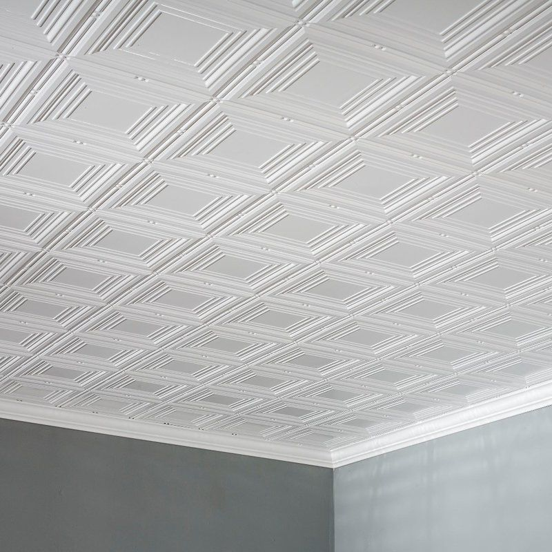 Portrait 2 Ft X 4 Ft Glue Up Ceiling Tile In Gloss White Ceiling Tiles Diy Ceiling Tile Ceiling Tiles
