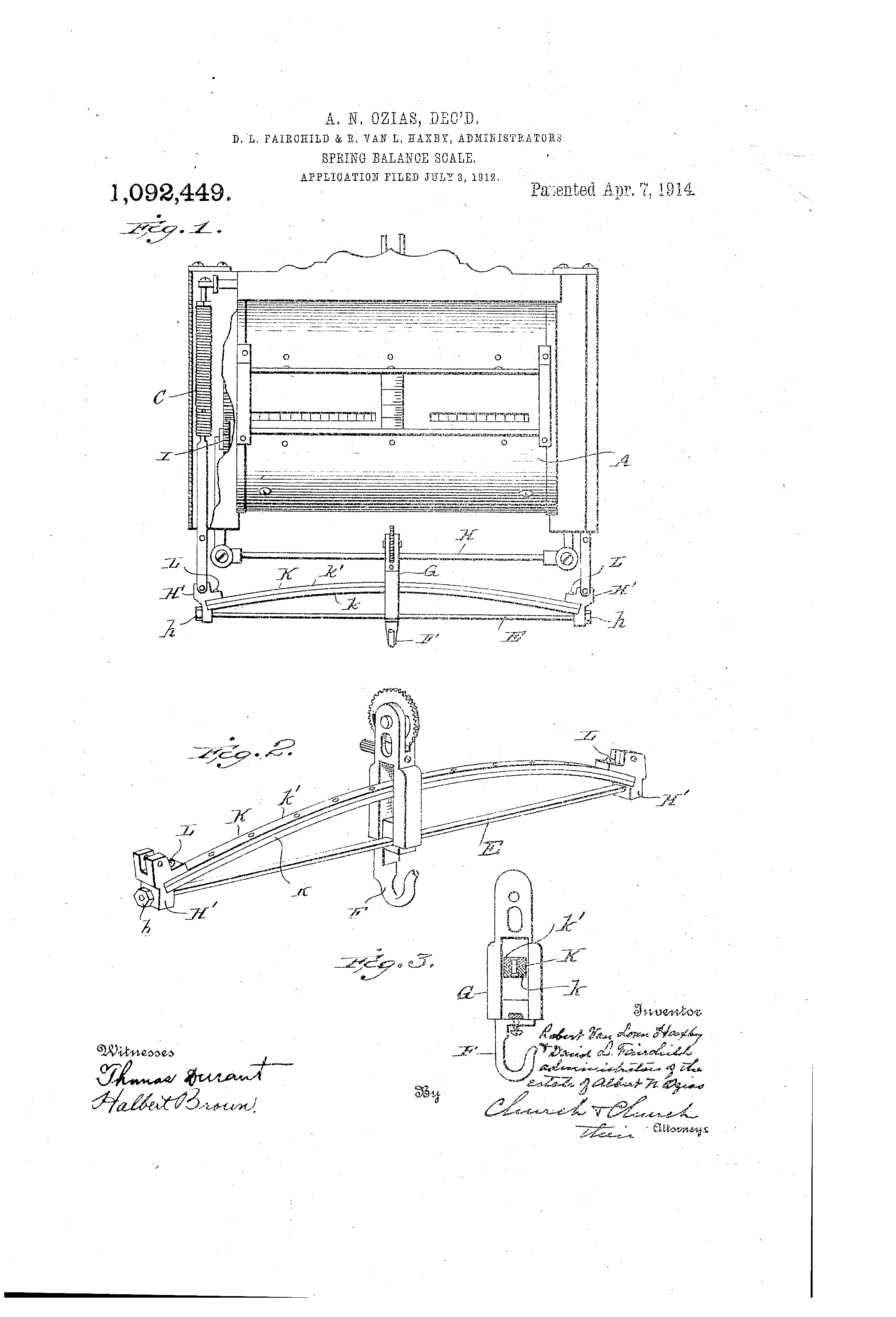 patent us1092449 spring balance scale google patents [ 2320 x 3408 Pixel ]
