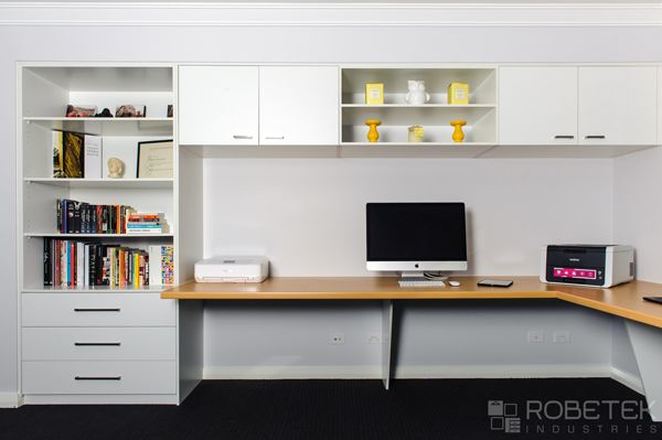 Custom Home Office In Sydney With Overhead Wall Mounted Cabinets