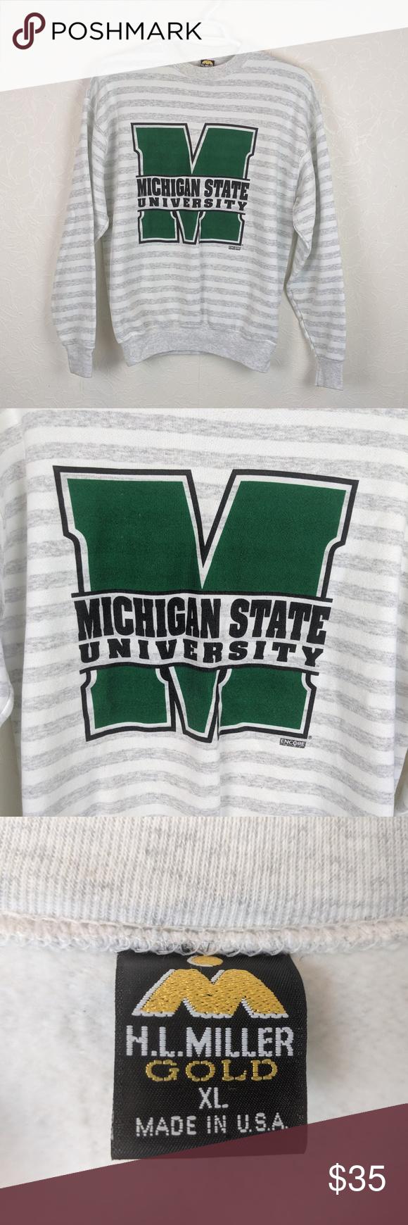 Vtg 90s Michigan State Spartans Mens Sweatshirt Vtg 90s Michigan State Spartans Mens Striped Big Logo Crew Sweats Mens Sweatshirts Sweatshirt Shirt Sweatshirts [ 1740 x 580 Pixel ]