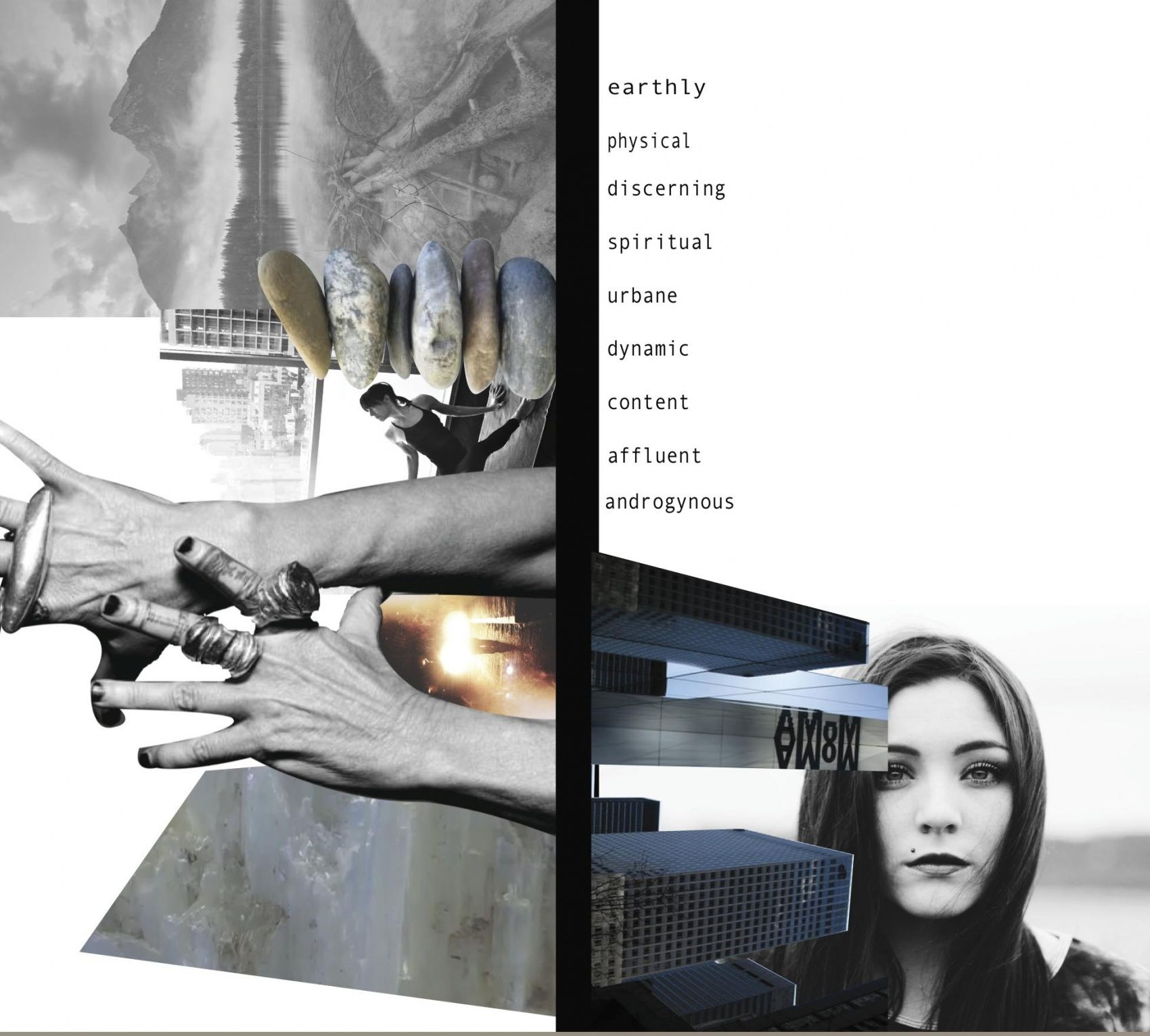- Bruk av collage, skrift, grafikk, former og farger i bakgrunn.  (Fashion Moodboard - fashion design development, customer research board for Rick Owens Project // Charlotte Osman)