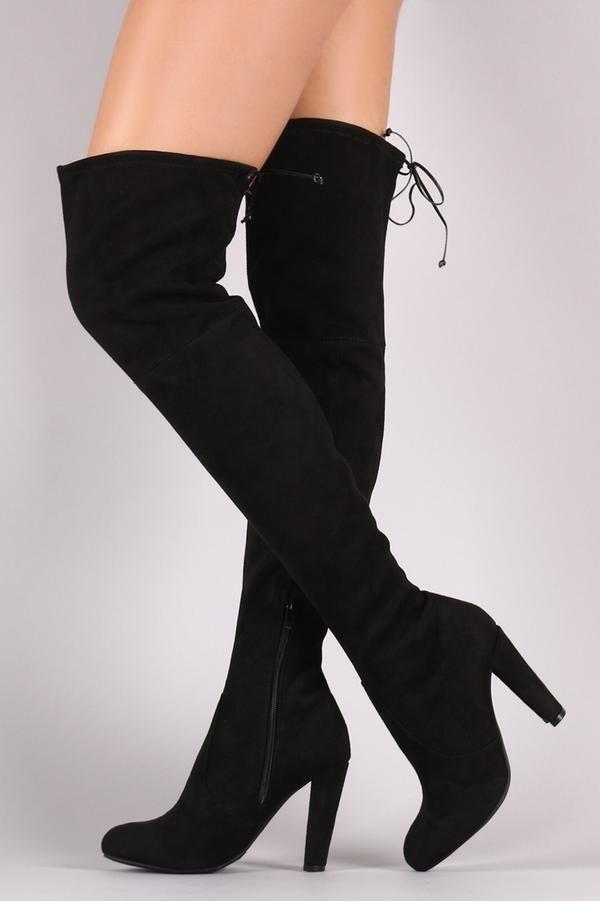 Amaya 01, Black Thigh High Boots | Kläder, Lårhöga stövlar