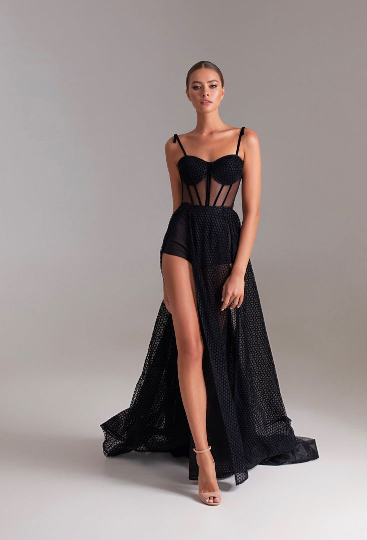 Sexy black long evening dress | Milla Nova