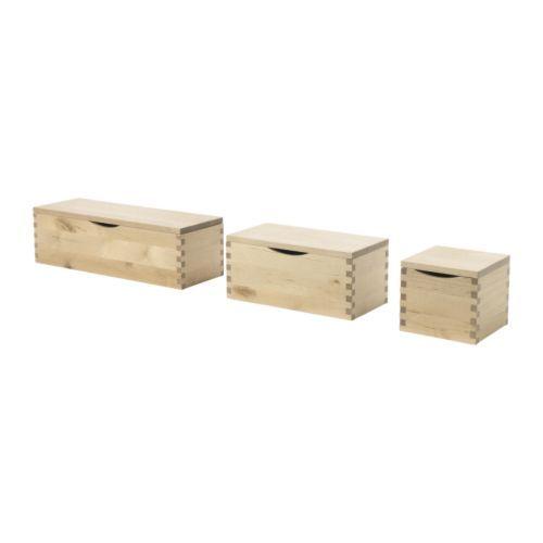 Molger Box With Lid Set Of 3 Birch 999 Ikea Ikea Bathroom