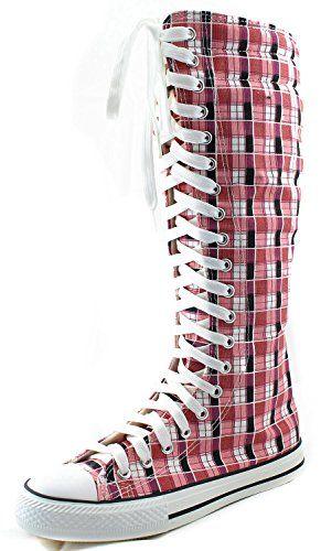 39521ed482d Women s Knee High Punk Sneaker Boots Punk-Hi Plaid
