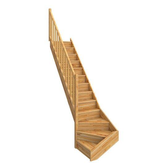 Escalier 1 4 Tournant Bas Gauche Bois Hetre Deva 2 13 Marches