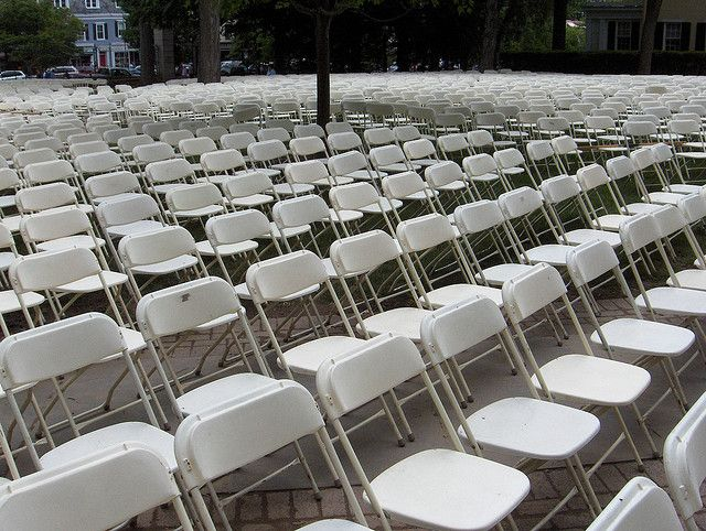 Chairs set up in front of Nassau Hall for Graduation.
