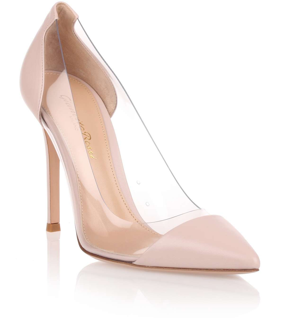 Pink Nappa Leather Pump With Transparent Sides From Gianvito Rossi The Signature Plexi Pump Transparent Heels Shoes Pumps Heels Stilettos Pink High Heel Shoes